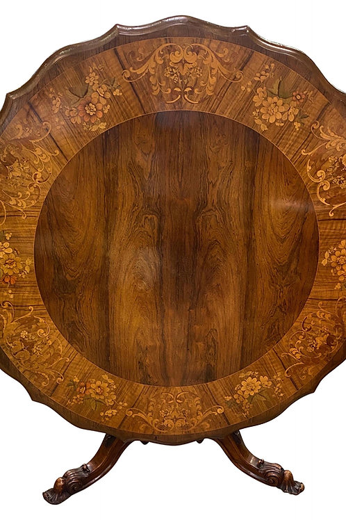 Important 19th Century Signed Irish Rosewood Center Table with Marquetry Inlay