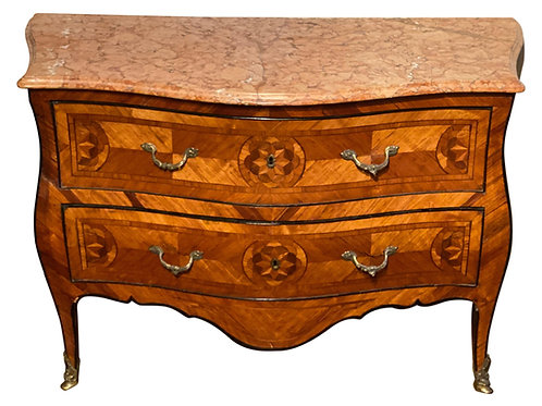 Early 18th Century Bronze Mounted Inlaid Italian Marble Top Commode