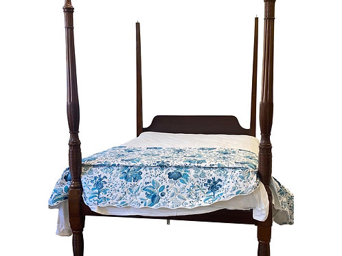 18th Century Four Post Mahogany Bed, Likely Charleston 'converted to queen'