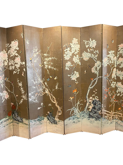Incredible Midcentury 8-Panel Hand Painted Gold Leaf Screen