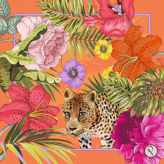 Powder Small Satin Square Blooming Jungle