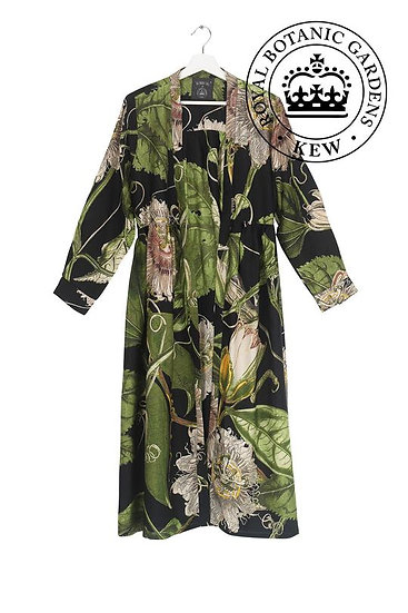 Passion Flower Black Duster Coat