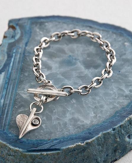 Crystal Leaf of Love Chunky Bracelet
