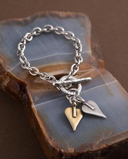 Double Signature Heart Link Bracelet