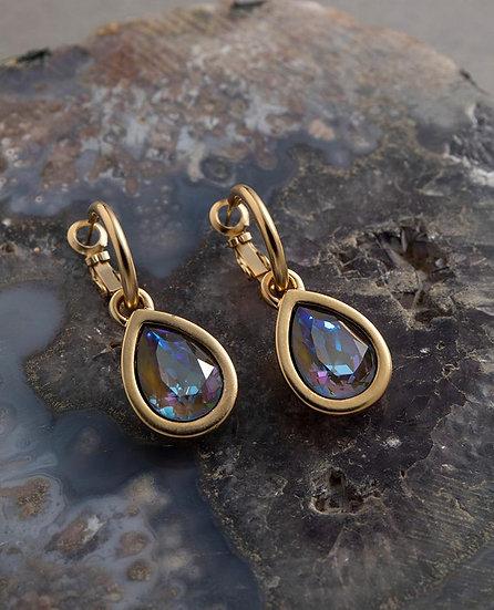 Crystal Drop Earrings Amber