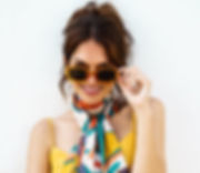 powder design palm leaf satin neck scarf