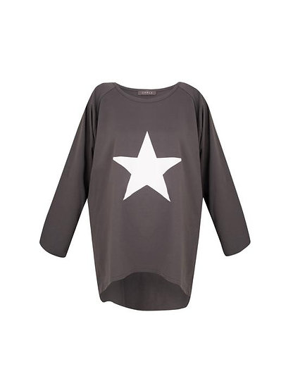 Robyn Top Charcoal with White Star