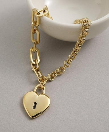 Bracelet with locket heart in Gold or Silver
