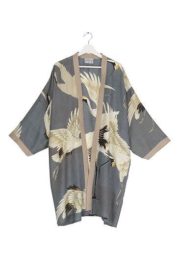 Stork Slate Grey Collar Kimono