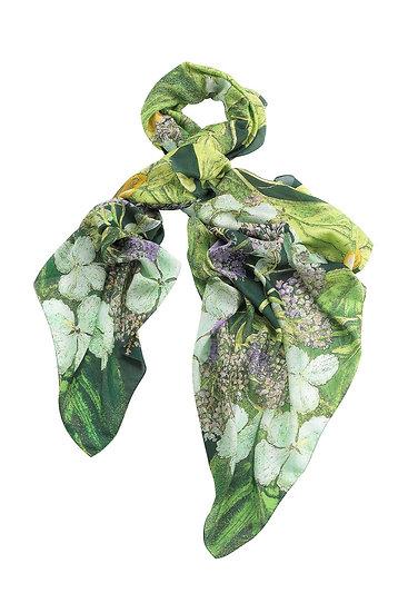 KEW RBG Marianne North Hydrangea Lime Green Scarf