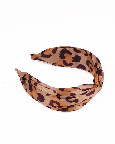 Powder Satin Headband Leopard