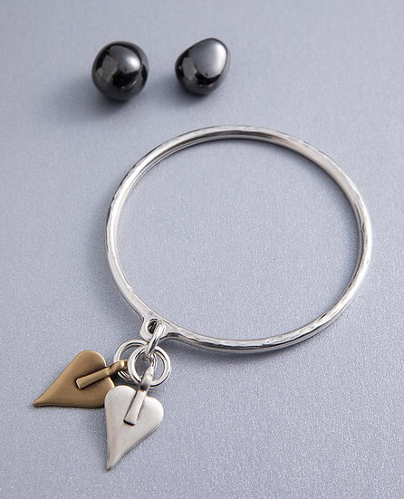 Silver Bangle with Signature  gold or silver heart
