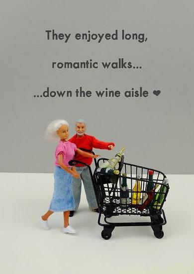 Romantic walk down the wine aisle