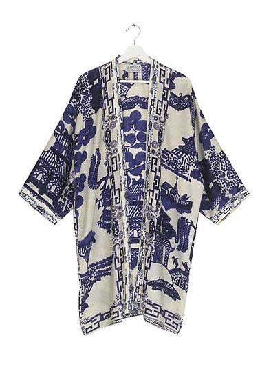 Blue Giant Willow Collar Kimono