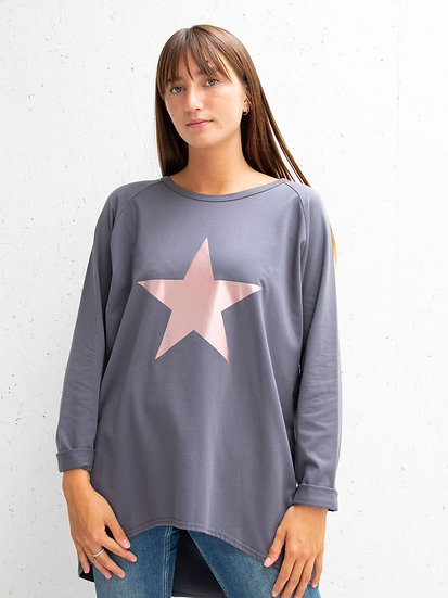 Robyn Top Charcoal with Rose Gold Star