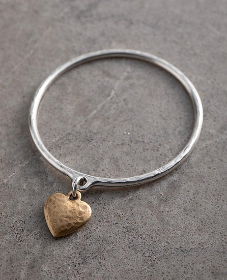 Silver Bangle with mini  gold or silver heart