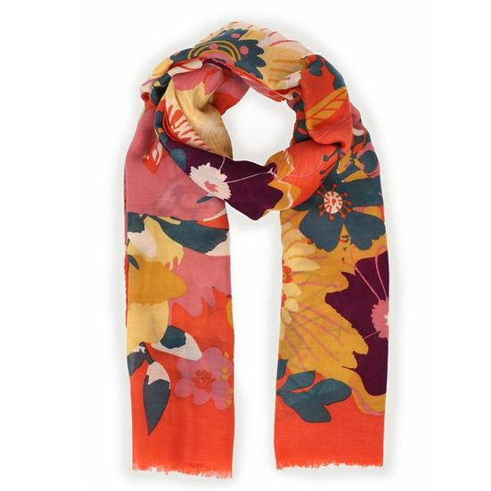 Floral Tangerine Print Scarf