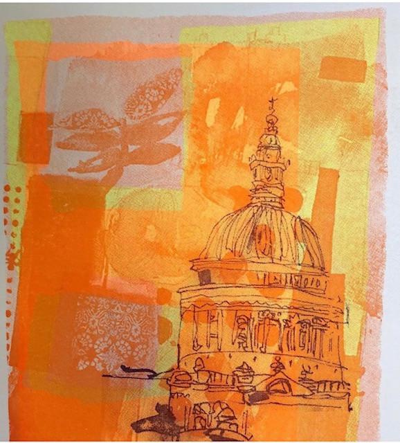 Orange and yellow St Paul's London and flowers screenprint