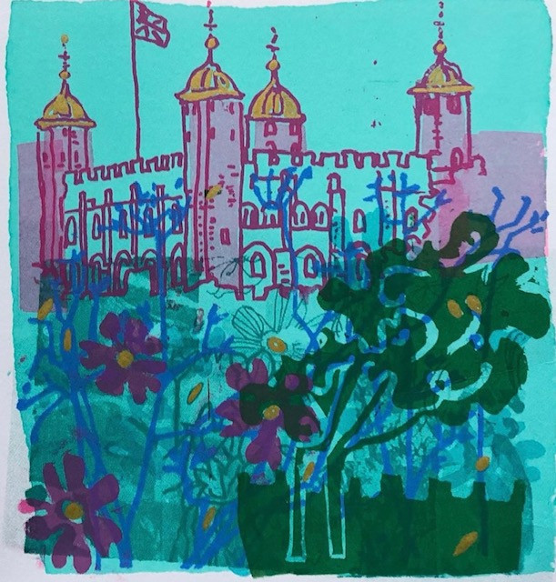 Turquoise and purple Tower of London with flowers screenprint