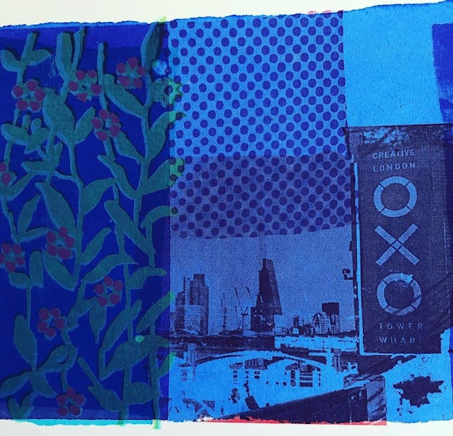 Blue Oxo Tower London and flowers screenprint