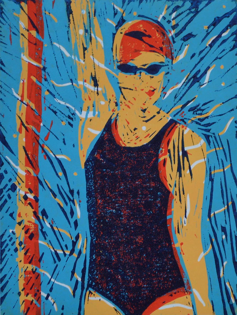 Swimmer in the fast lane, linocut by Sandra Millar