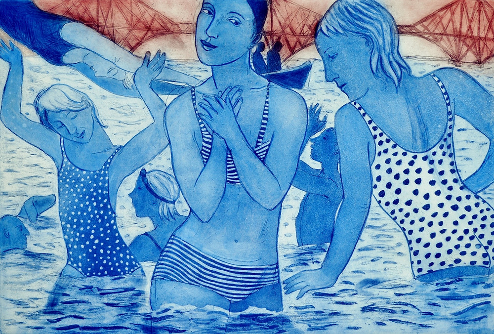 Etching of swimmers by the Forth Bridge inspired by Loony Dook, by Sandra Millar