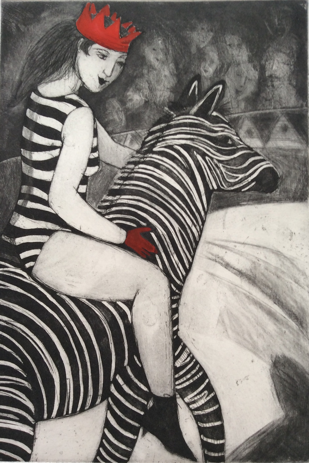 Circus performer riding a zebra, etching and drypoint by Sandra Millar