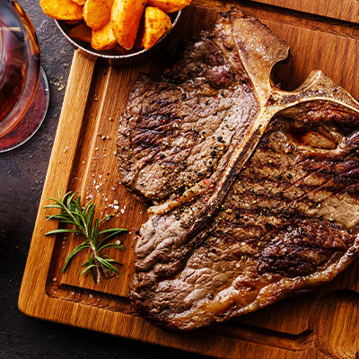 T-Bone steak. Whole