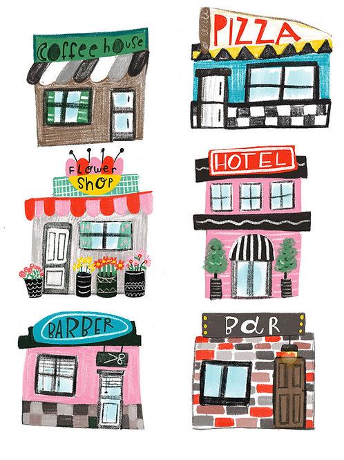 little buildings, print