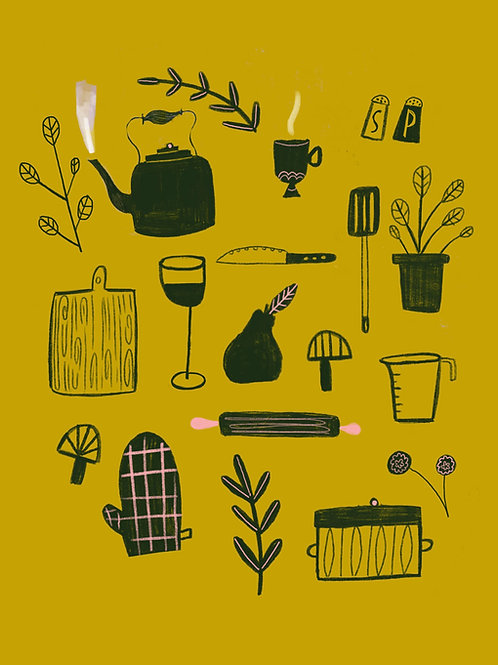 kitchen things, print