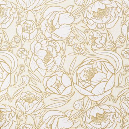 Chasing Paper Peonies Wallpaper in Gold/Cream