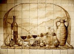 Handpainted Kitchen Tile Backsplash