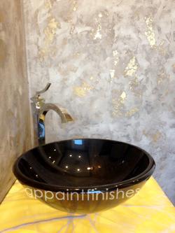 Gold Foil Powder Room Walls