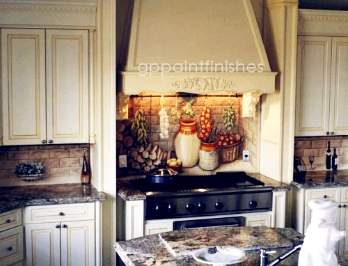 Kitchen Backsplash Mural & Cabinets