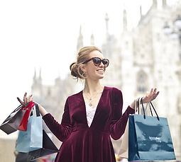 Fabulous happy woman has personal shopping experience