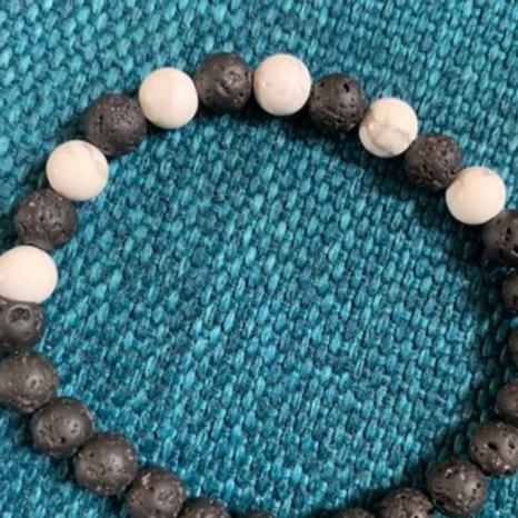 Howlite Lava Bead Aromatherapy Bracelet
