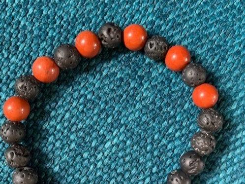 Red Jasper Lava Bead Aromatherapy Bracelet
