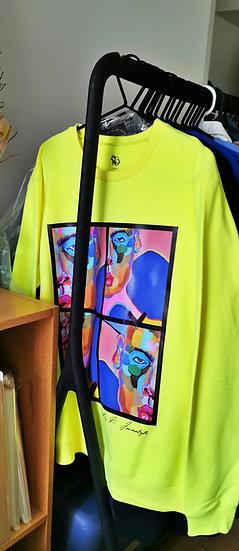 """Yellow neon sweatshirt """"Modern Human """""""