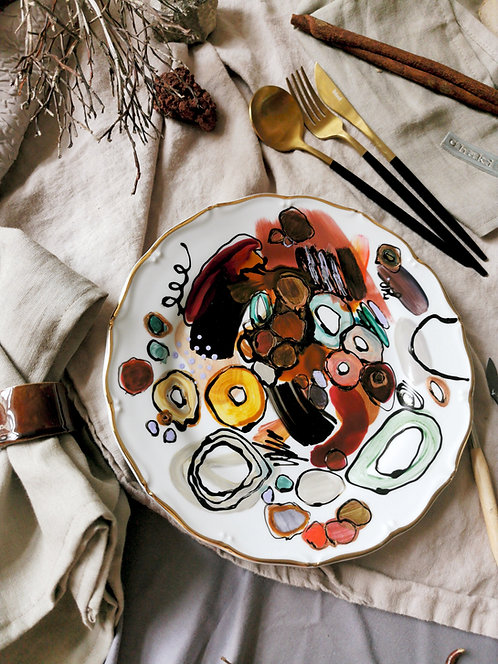"""Hand-painted porcelain  plate """"Abstract No. 17"""""""