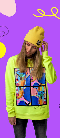 Neon yellow sweater ''Postmodern human''