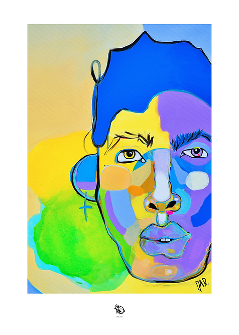 """Limited edition """"Blue Humankind"""" painting print 50x70 cm/ Hand signed"""