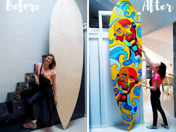 The Art of Hand Painted Paddle Board