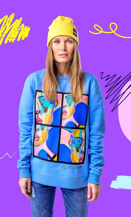 "Blue sky sweatshirt ""Postmodern Human """