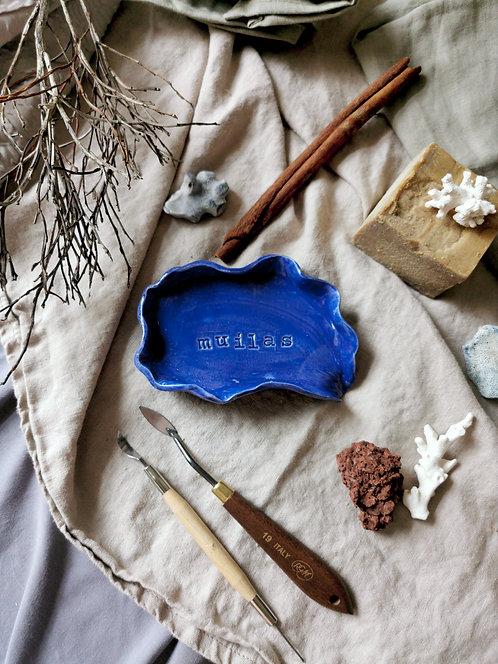 "Hand-made ceramic soap dish ""Ultramarine Shell"""