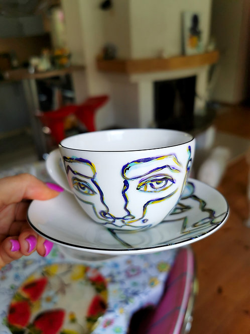 "Hand painted porcelain set of two cups with plate ""Coffee Prodigy"""