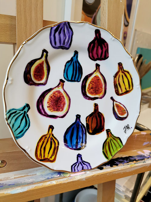 "Hand-painted porcelain  plate ""FIG"""