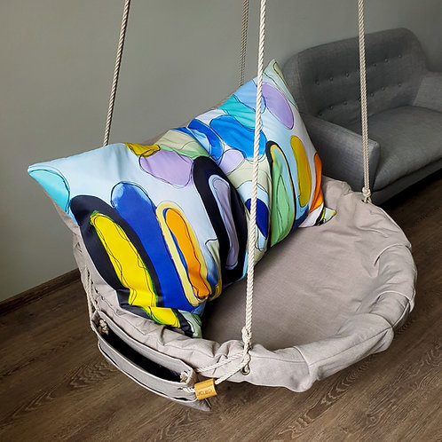 """Handcrafted Haging Chair  with """"Movement"""" pillow"""