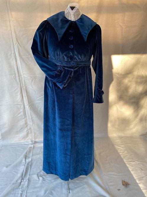 Blue cotton velvet pelisse, lined bodice, underbust belt. Plus size