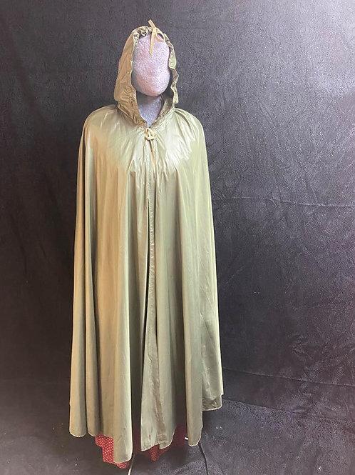 Faux silk cape, green or tan.