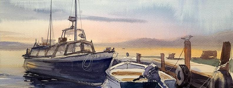 """Original Watercolor Demo """"Seagull Boats"""""""